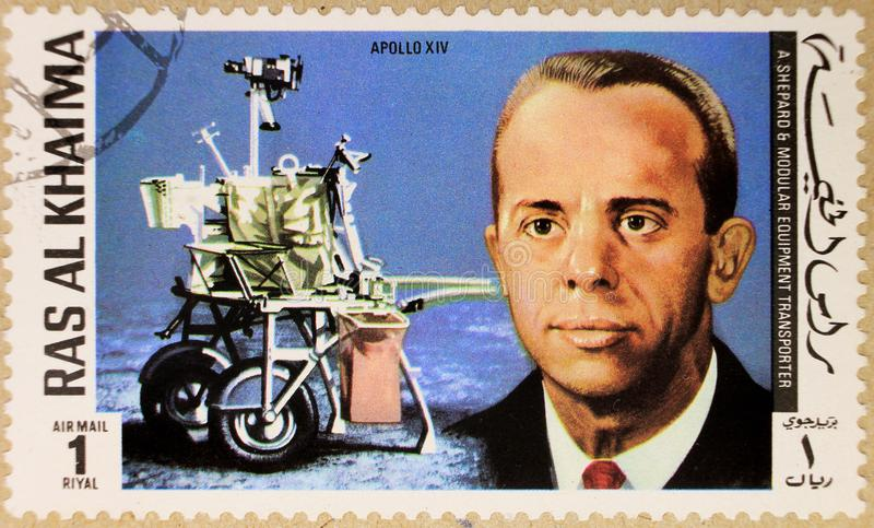 Old post stamp of Ras Al Haima stock image
