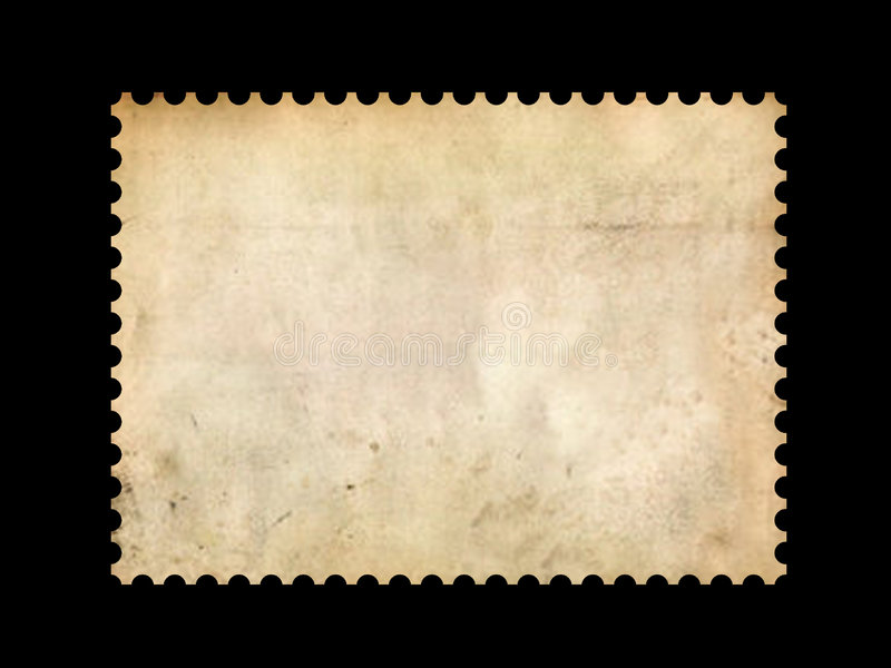 Old postage stamp border. On black vector illustration