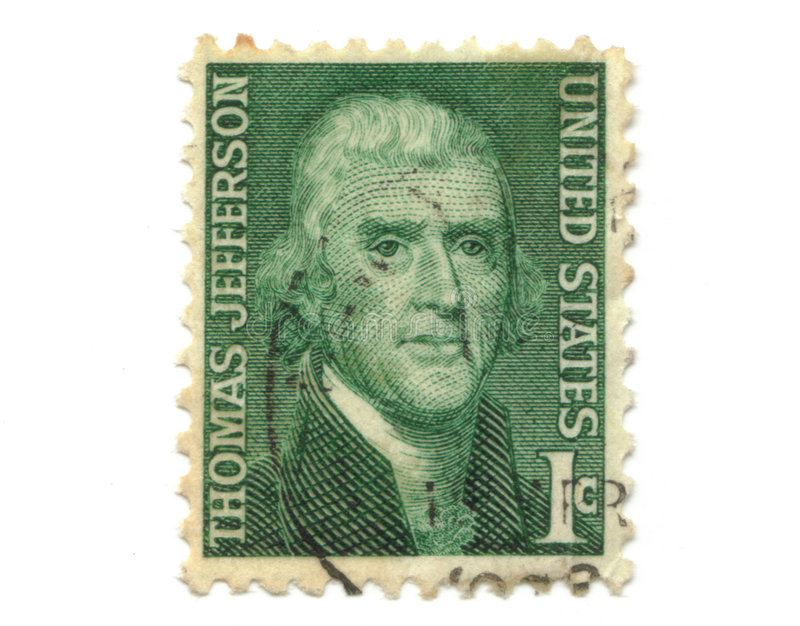 Old postage stamp from USA 1 cent. Jefferson stock photography
