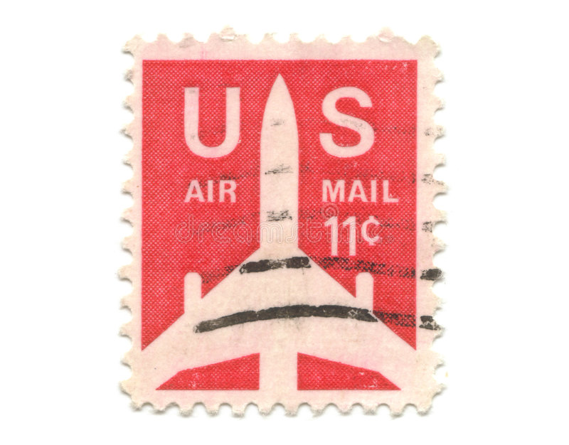 Old postage stamp from USA 11 cent. Airmail stock photo