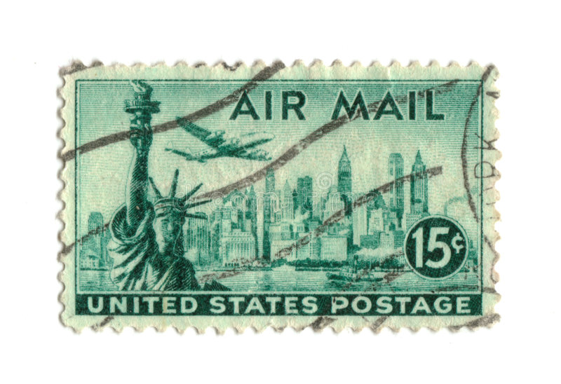 Old postage stamp from USA 15 cents. Libery NY stock photo