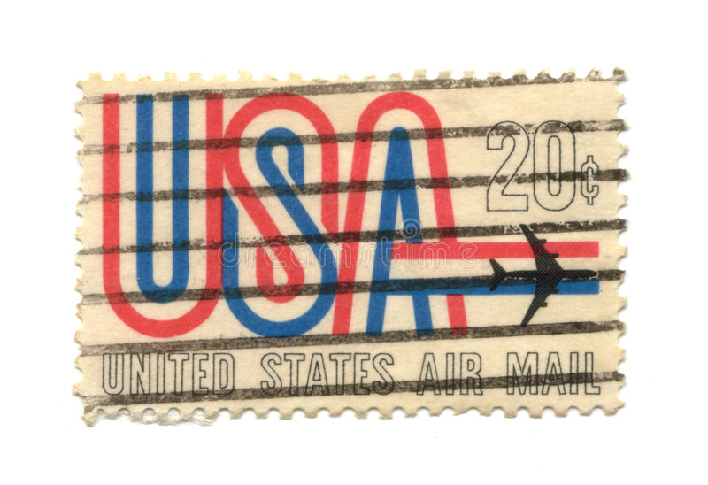 Old postage stamp from USA 21 cent. Airmail stock image