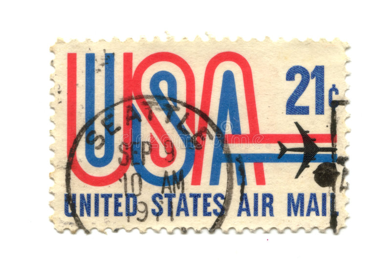Old postage stamp from USA 21 cent. Airmail stock images