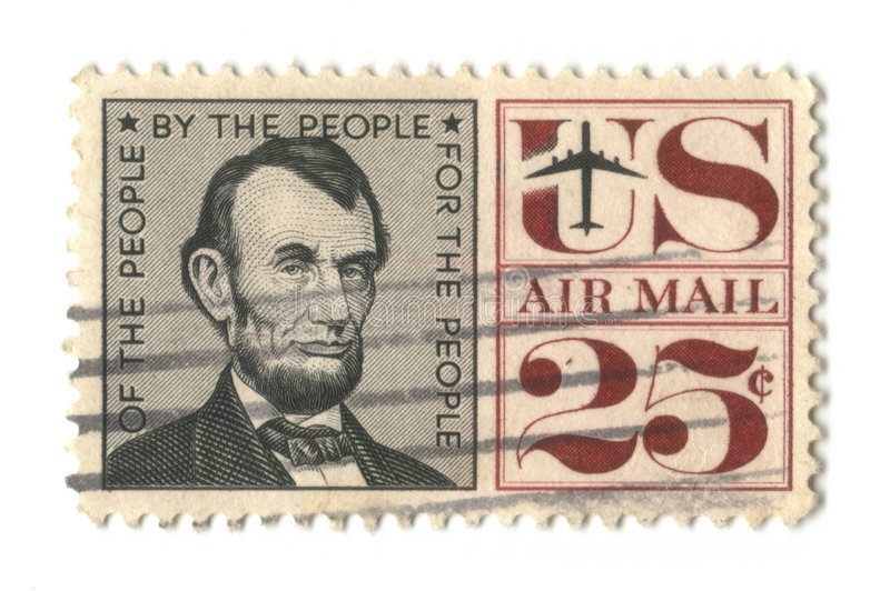 Old postage stamp from USA 25 cent. Lincoln stock photography