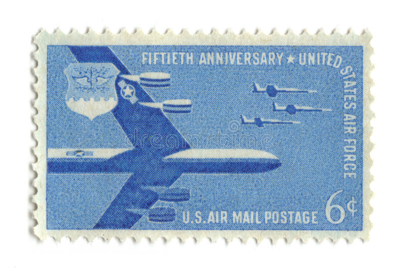 Old postage stamp from USA 6 cent. Air force stock photography