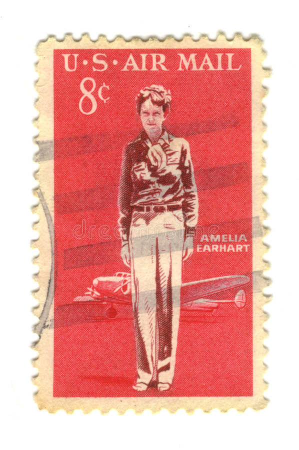 Old postage stamp from USA 8 cent. Amelia Earhart royalty free stock images
