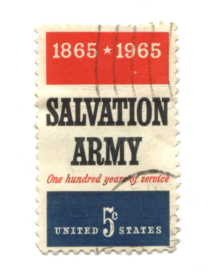 Old postage stamp from USA five cent. Salvation army royalty free stock photography