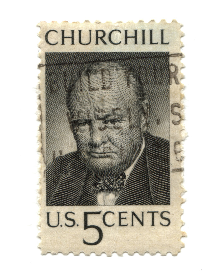 Old postage stamp from USA five cent. Churchill royalty free stock image