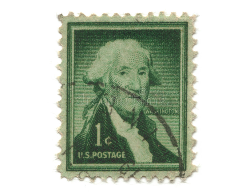 Old postage stamp from USA one cent. Washington royalty free stock photo