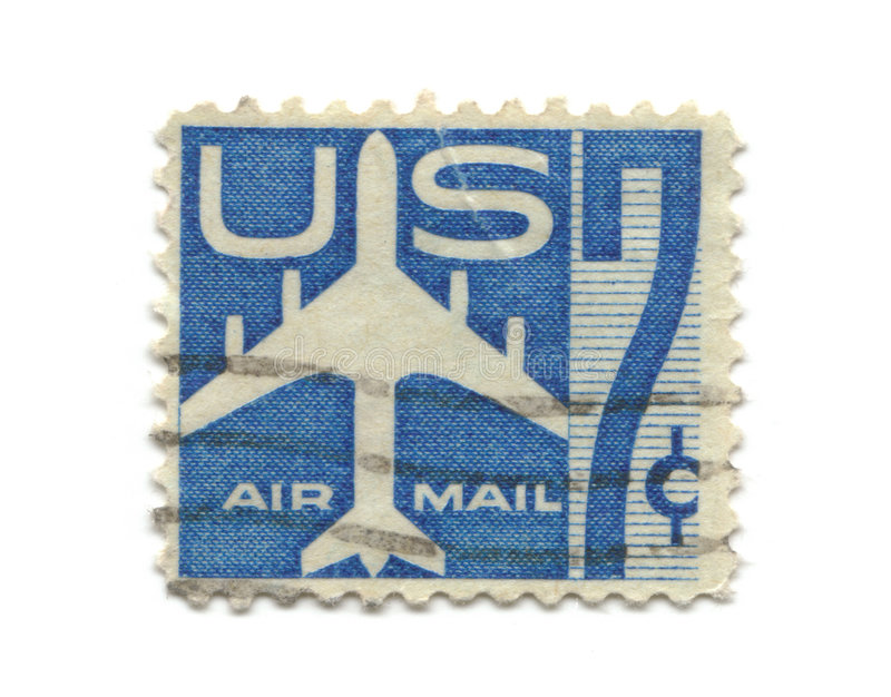 Old postage stamp from USA seven cent. Airmail royalty free stock photos