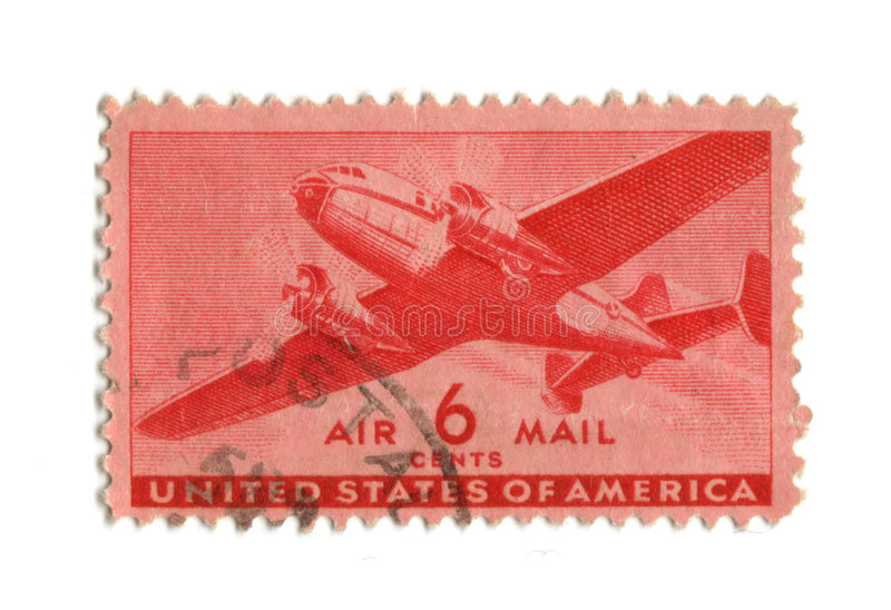 Old postage stamp from USA six cent. Airmail stock photo