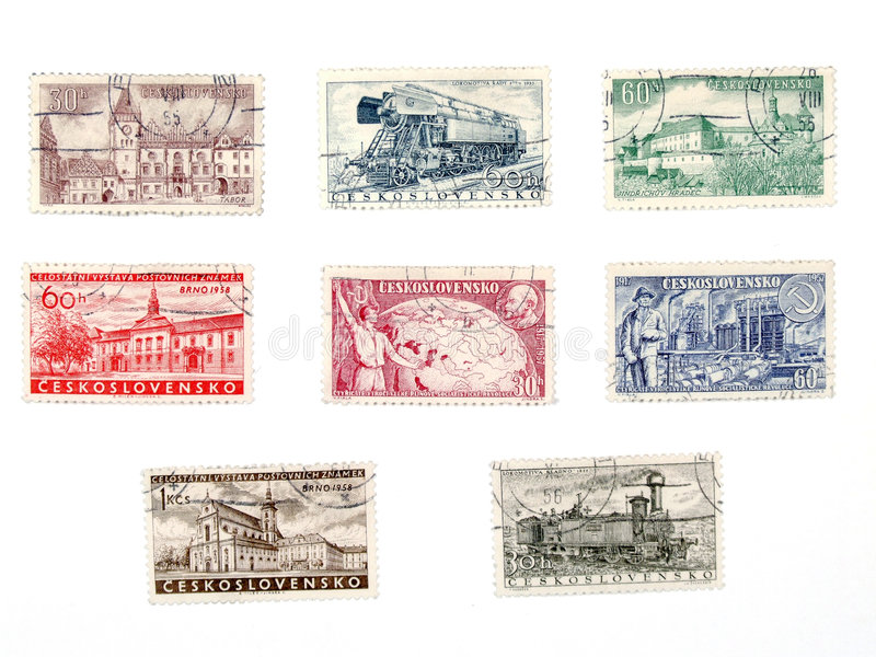 Old postage stamps from Czechoslovakia. Vintage postage stamps from no longer existing country - Czechoslovakia (Ceskoslovensko). Former soviet block collectible stock photo