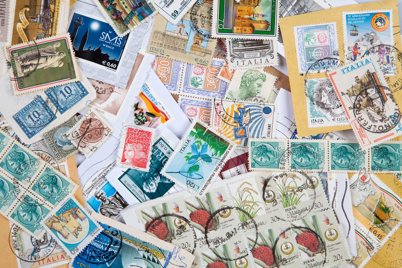 Old postage stamps royalty free stock photography