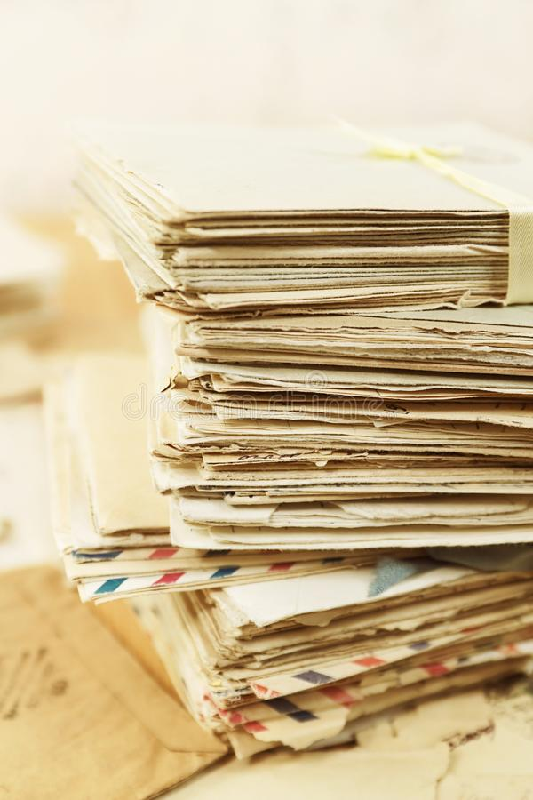 Old postal paper letters closeup stock image