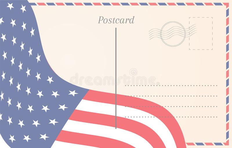 Old postcard illustration with american flag stock illustration