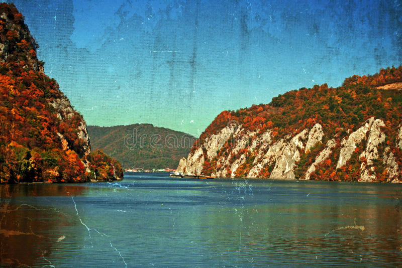 Old postcard with landscape in the Danube Gorges, Romania royalty free stock photos