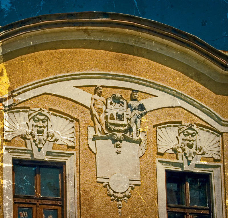 Old postcard of one historical building.Caransebes, Romania. Old photo with architectural details on a historic building in Caransebes, Romania. Image digitally stock images