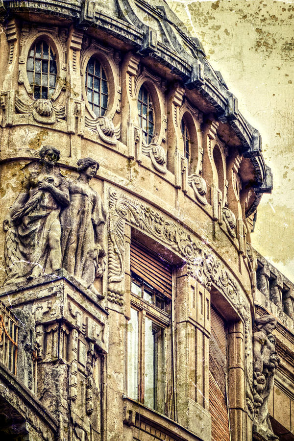 Old postcard of one historical building.Timisoara 13. Architectural details on a historic building in Opera Square, Timisoara, Romania. Image digitally royalty free stock image