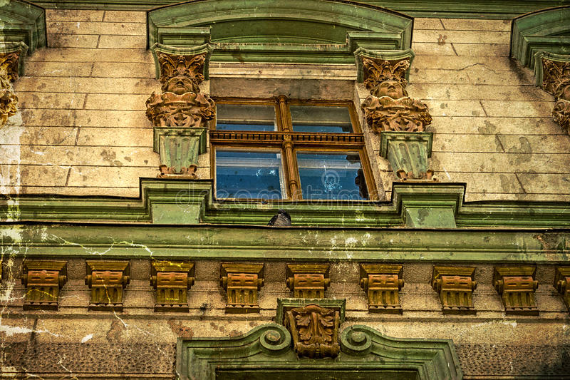 Old postcard of one historical building.Timisoara, Romania -23. Old photo with architectural details on a historic building in Alba Iulia street, Timisoara stock photo