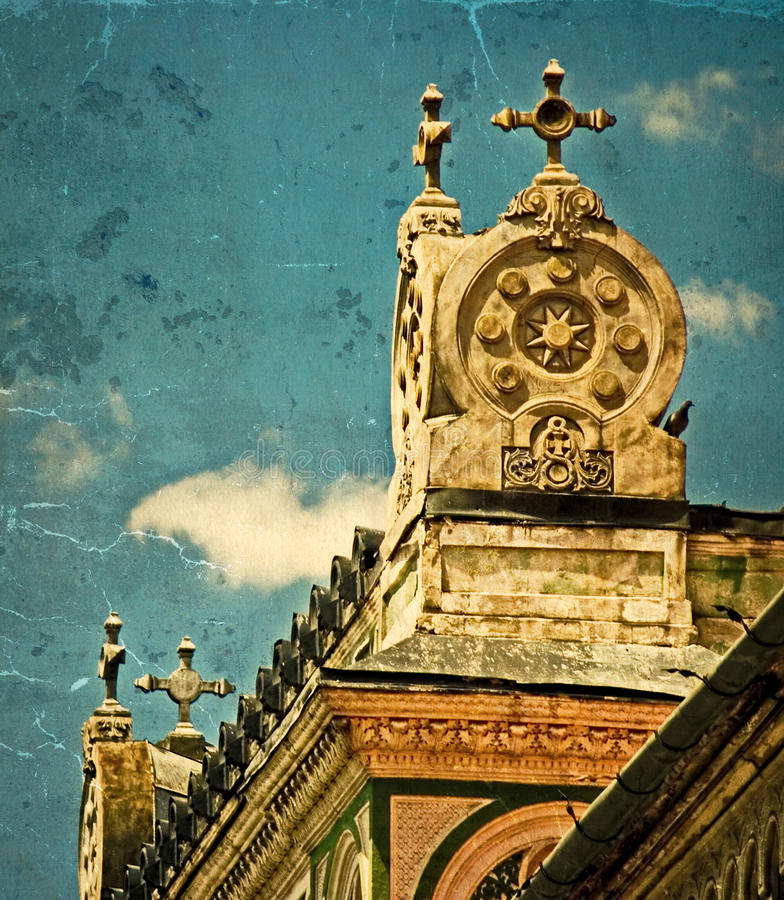 Old postcard of one historical building.Timisoara, Romania 19. Old photo with architectural details on a historic building in Union Square, Timisoara, Romania royalty free stock photo
