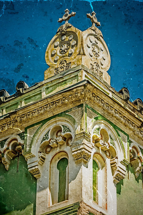 Old postcard of one historical building.Timisoara, Romania 20. Old photo with architectural details on a historic building in Union Square, Timisoara, Romania stock image