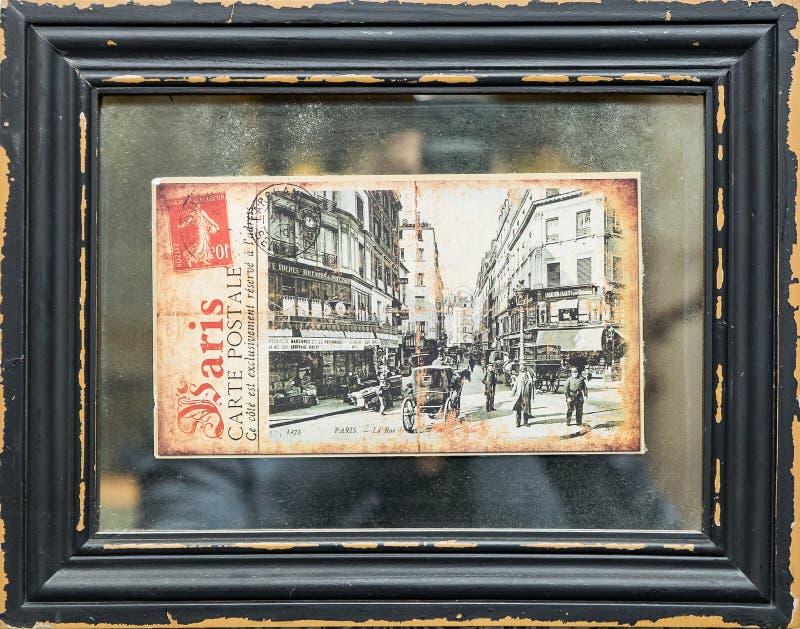 Old postcard of paris 1273 year in black frame stock image
