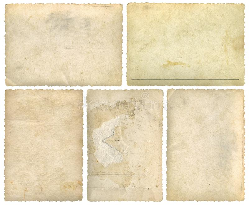 Old Postcards Photo Frames Cutout. Five Old Empty Postcards Template Background Cutout. Additional file format is .png with transparent background stock image