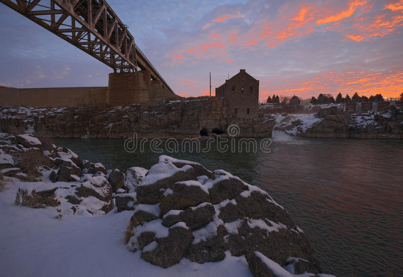 Old Power Plant at American Falls Dam royalty free stock images