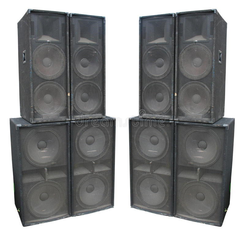 Old powerful stage concerto audio speakers royalty free stock images