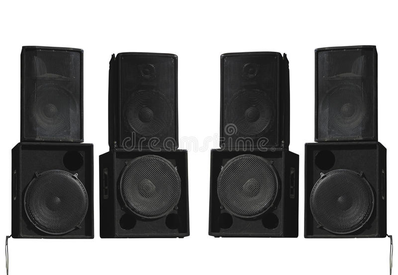 Old powerful stage concerto audio speakers isolated on white royalty free stock photography