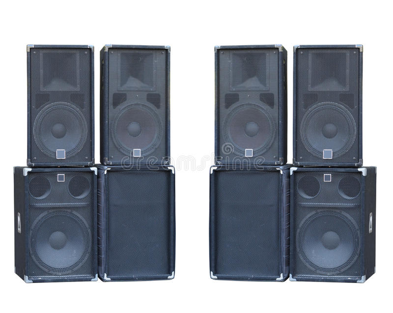 Old powerful stage concerto audio speakers isolated on white. Background royalty free stock photo