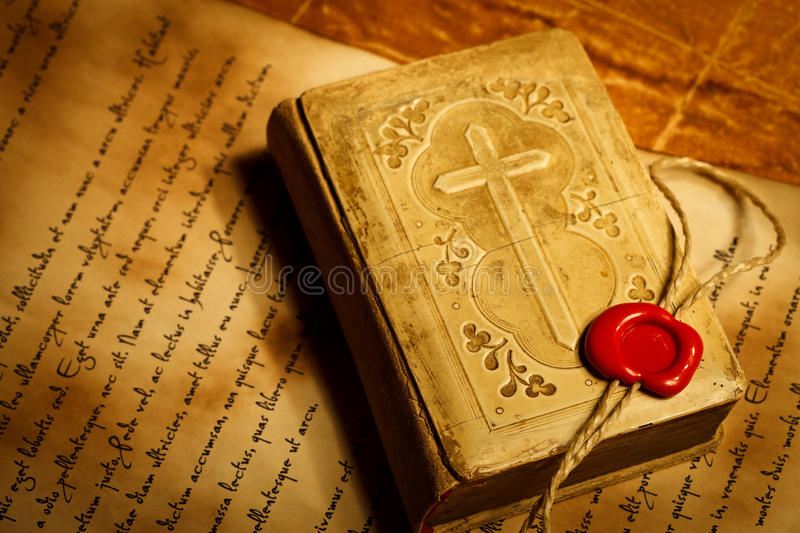 Old prayer book with wax seal stamp royalty free stock image