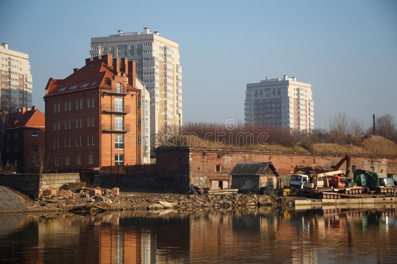 Old pre-war historical houses of German construction and russian modern building in Kaliningrad former german town Konigsberg stock photo