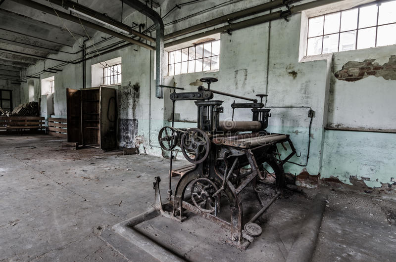 Old press in spinning royalty free stock photography