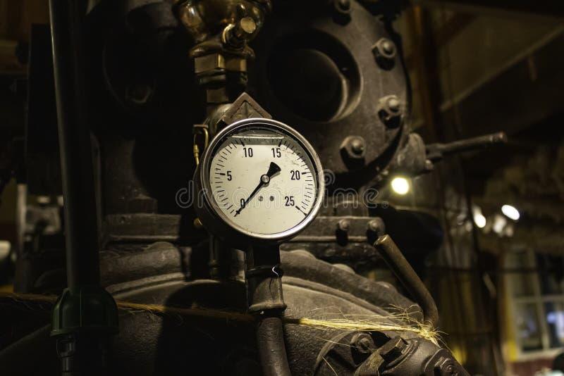 Old pressure gauge. Pressure gauge, detail of measuring instrument meter industrial gas technology equipment energy measurement pump hydraulic white tool power stock photography