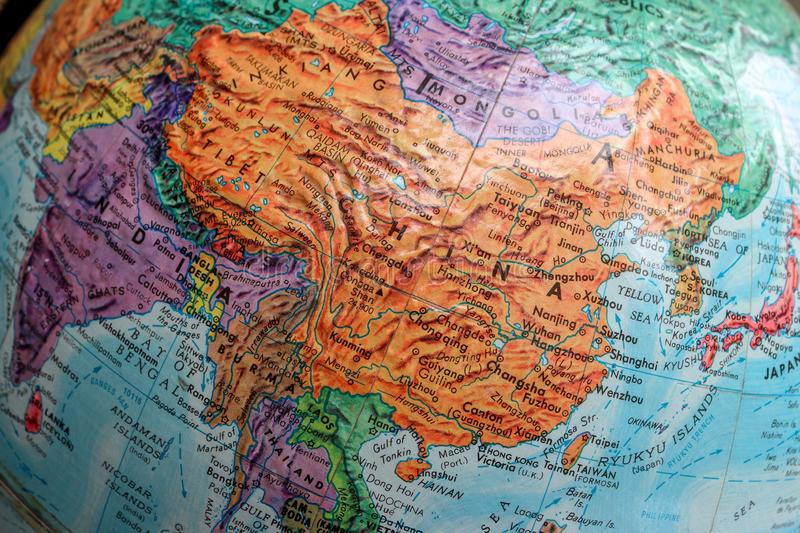 Old Print Map,terrestrial globe, China Asia. A diagrammatic representation of an area of land or sea showing physical features, cities, roads, etc royalty free stock photography