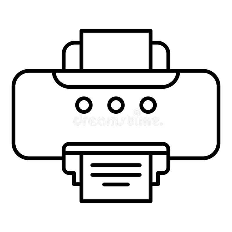 Old printer icon, outline style stock illustration