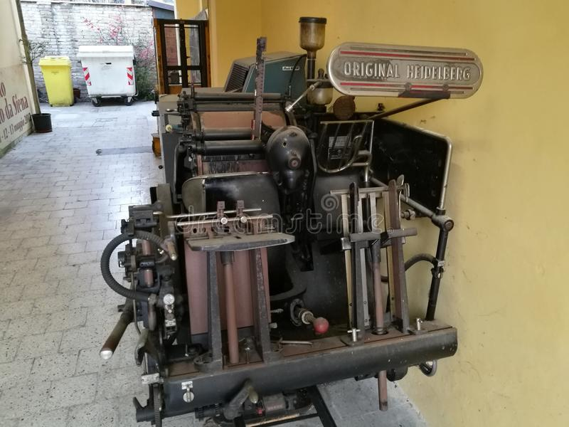 Old printing machine Heidelberg royalty free stock photos