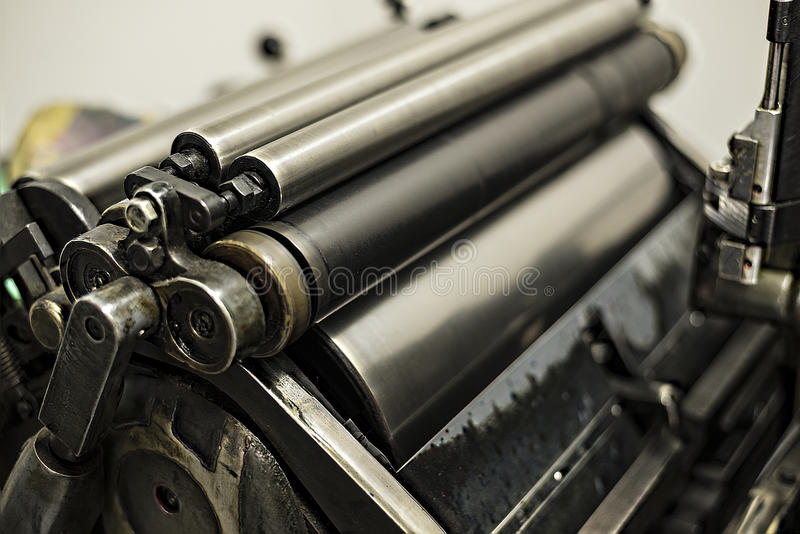 Old printing machine. With oil, ink and mold royalty free stock photos