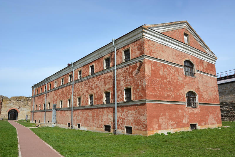 Old prison building in Oreshek fortress. Shlisselburg city, Saint-Petersburg district stock image