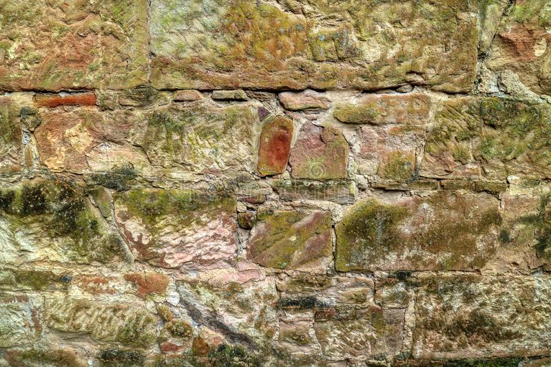 Old prison rock and brick wall with moss and lichen Port Arthur Penal Colony Historic Site Tasmania, Australia royalty free stock photography