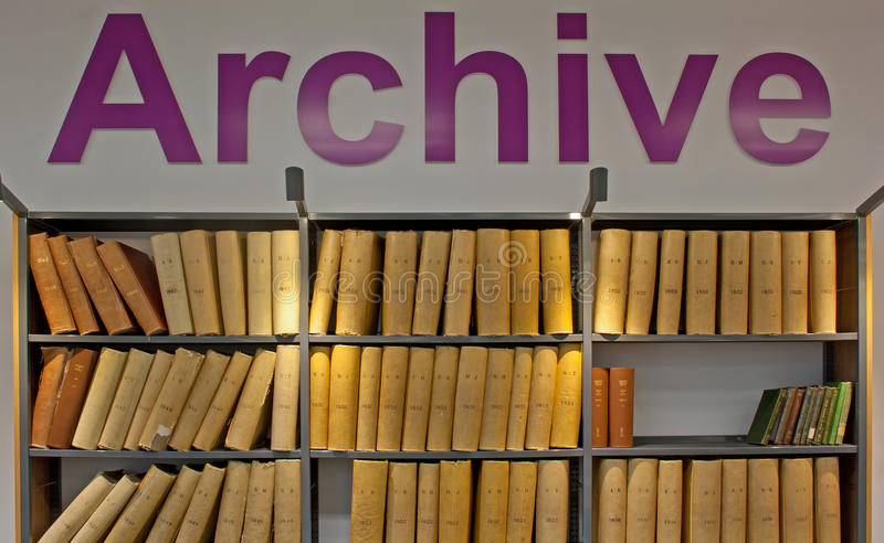 Old probate books in a library. Archive of old probate books in a library stock photo