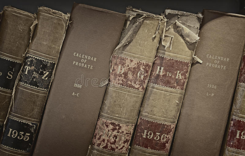 Old probate books in a library. Archive of old probate books in a library royalty free stock images