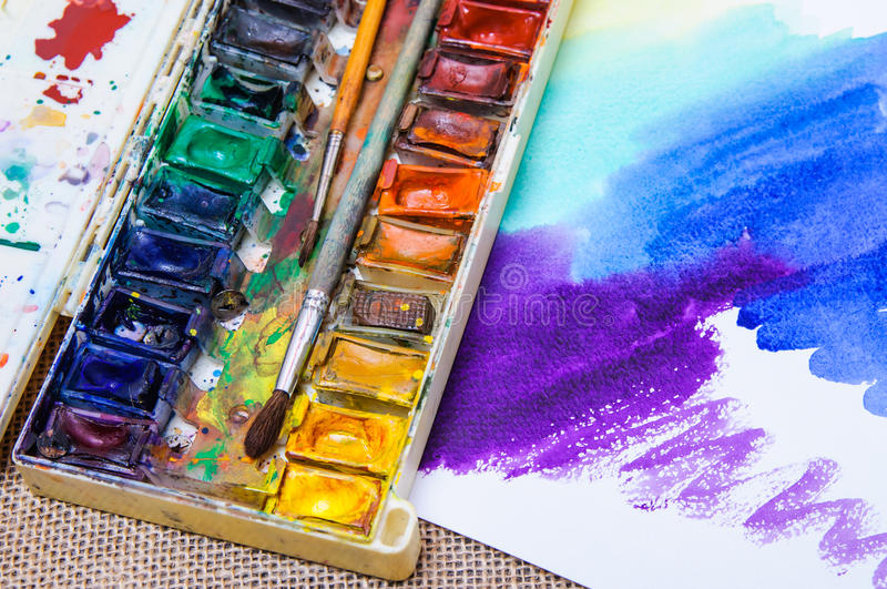 Old professional watercolor paints stock photos
