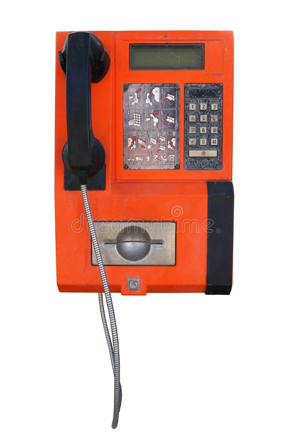 Old public pay phone stock image