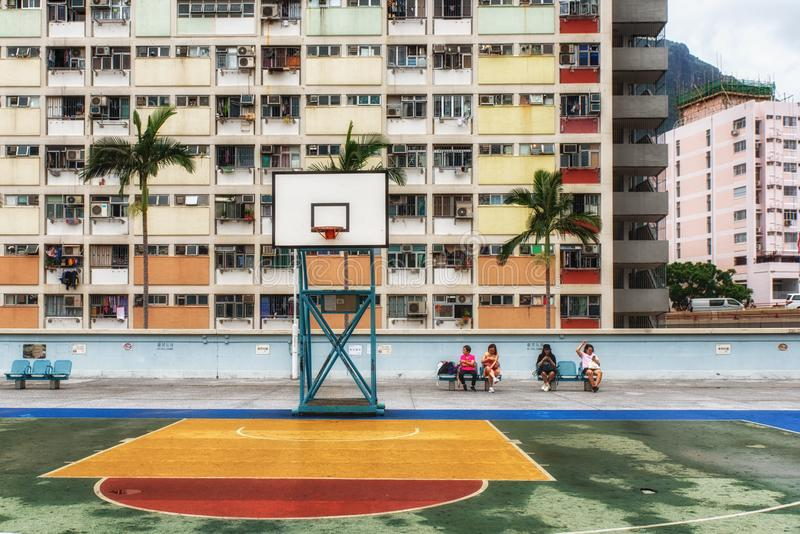 Old public populated housing estates in Hong Kong stock images