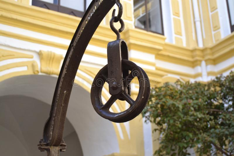 Old pulley of iron royalty free stock images