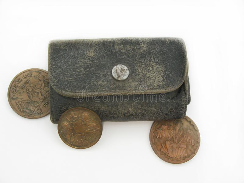 Old wallet with old indian coins. royalty free stock images