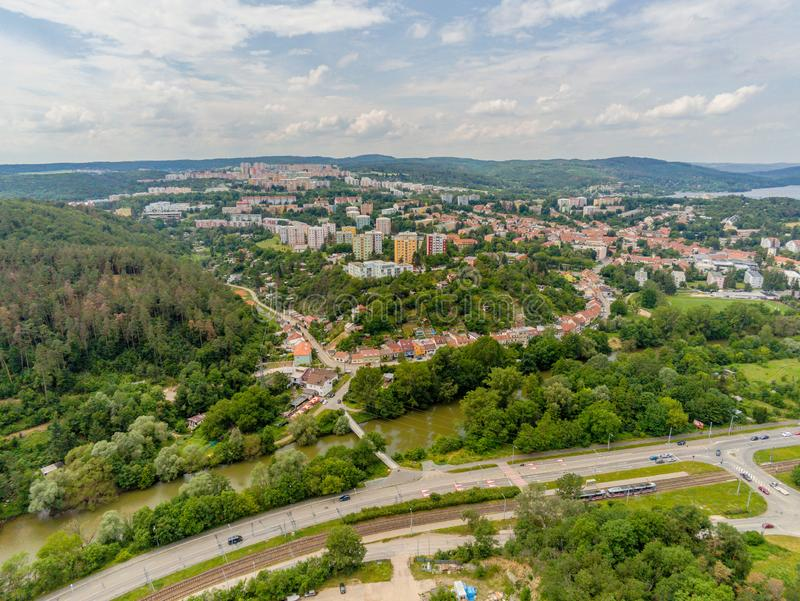 The old quarry in Brno-Komin from above royalty free stock photo