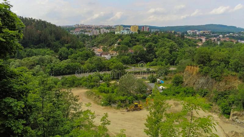 The old quarry in Brno-Komin from above royalty free stock images